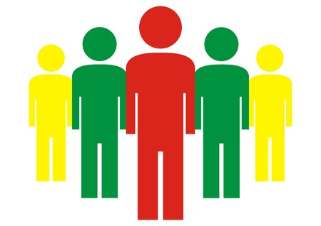 Group of colored figures, vector icon, management
