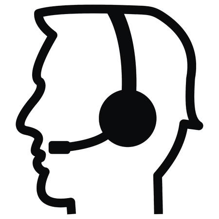Hombre usando el icono de auriculares.