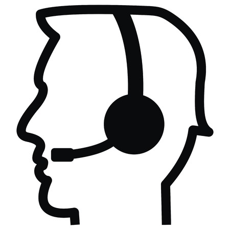 Man wearing headphone icon. Illustration