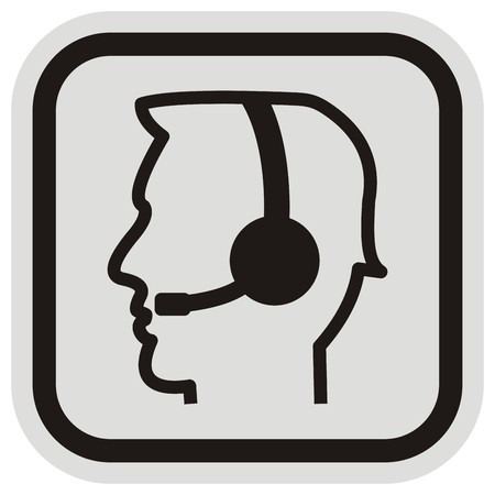 Telephone operator, vector icon, black and gray frame, black silhouette of man with headphones