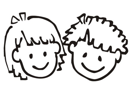 Portrait of girl and boy drawing.