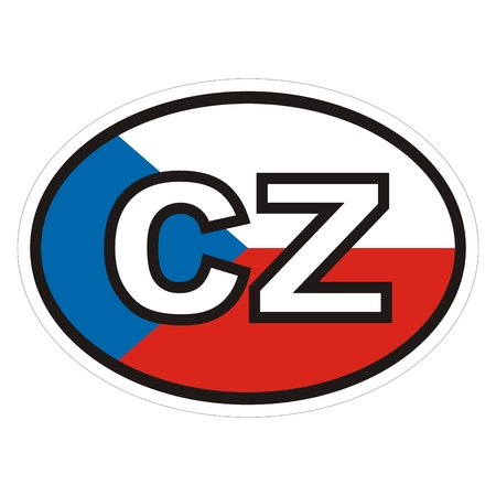 International license plate, Czech republic, label for car, sticker with white contour, vector icon.