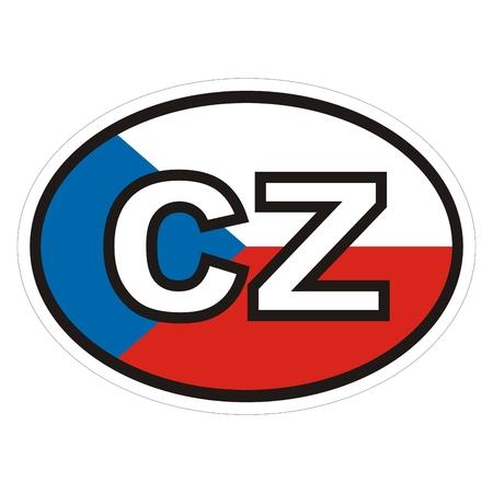 Internationale nummerplaat, Tsjechische republiek, etiket voor auto, sticker met witte contour, vectorpictogram. Vector Illustratie