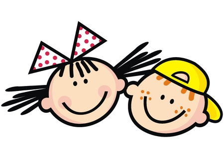 Happy children, girl with bow and boy with cup, funny vector illustration