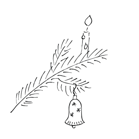 Christmas twig with candle and bell, vector icon. Christmas decorations. Still life with ornate twig. Doodle. Vektorové ilustrace
