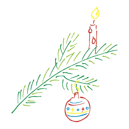Christmas twig with candle and ornament bulb, vector icon. Christmas decorations. Still life with ornate twig. Doodle.