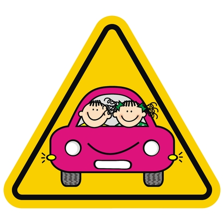 Be careful, kids in the car. Yellow triangle frame. Boy and girl on board. Funny vector illustration. Attention, kids on the car.