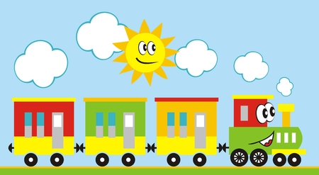 Train set, three wagons locomotive. Funny vector illustration. Train and sun. Locomotive with eyes and mouth. Illustration
