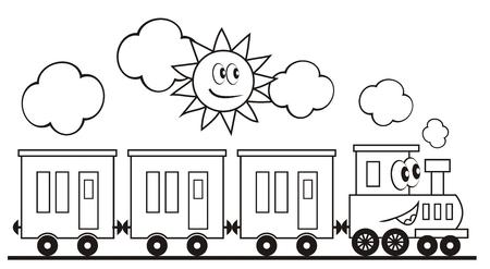 Tren Locomotora Y El Vagón Dibujos Para Colorear Para Niños