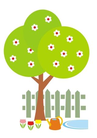 School garden, tree, flowers and garden can Illustration