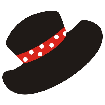 Black hat with red scarf with dots.
