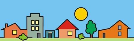 Ciudad, grupo de casas, árbol y sol, ilustración de color, icono de vector Foto de archivo - 90453139