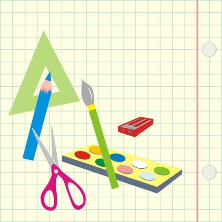 Back to school, school aids on square paper, vector icon. Triangle, crayon, brush, colors, scissor and pencil shredder on square sheet.