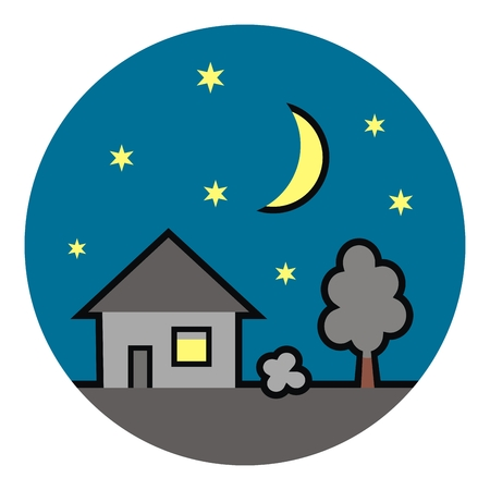 House at circle frame, nighttime, vector illustration.