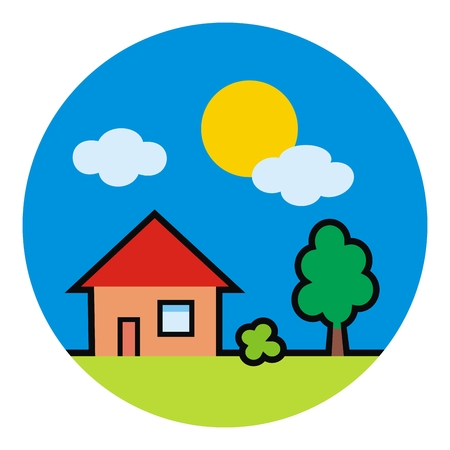 House at circle frame, tree and sun, vector illustration. Illustration