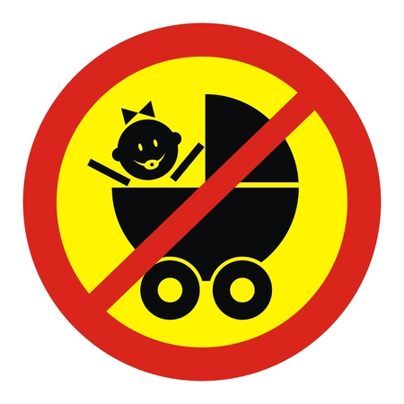 Prohibited entry with a pram. Vector sign. Sticker. Illustration