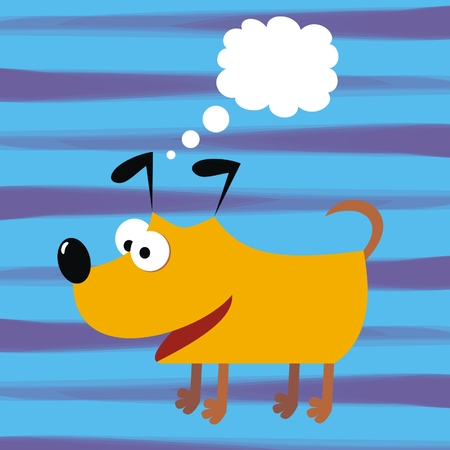 Orange dog and bubble. Funny illustration. Vector icon. Blue striped background. Humorous postcard. Illustration