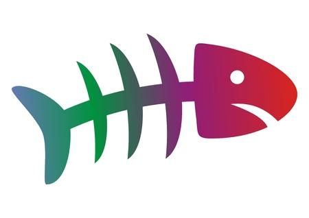 Fish rainbow skeleton colored icon illustration.