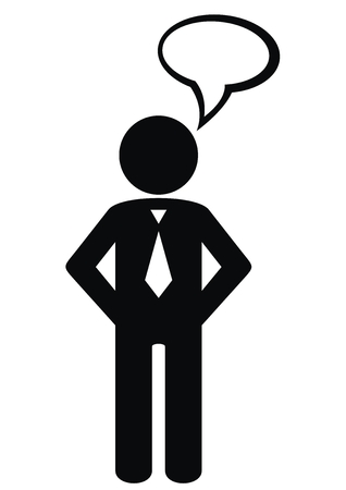 Figure of a man with a bubble, black vector icon