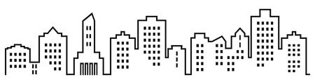 Silhouet van de stad, groep huizen met ramen. Zwart en wit pictogram. Vector pictogram Veel hoge huizen.