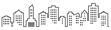 Silhouette of town, group of houses with windows. Black and white icon. Vector icon. Lots of high-rise houses.