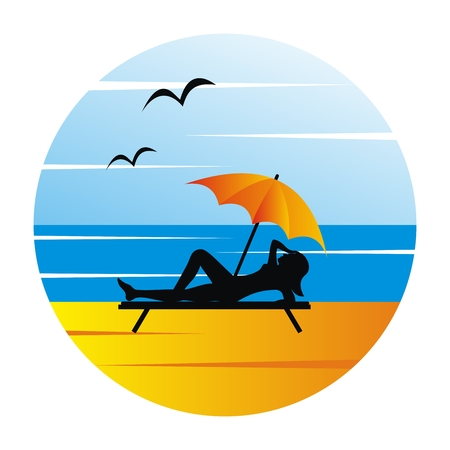 woman on beach deck and parasol, vector icon