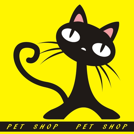 Black cat on yellow background. Funny vector illustration. Decoration wallpaper with text pet shop.