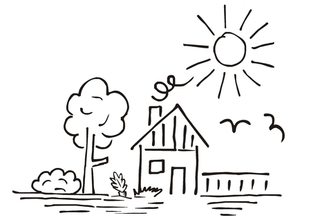 House and garden, hand drawing, vector illustration, landscape. Contour drawing. Black outline.