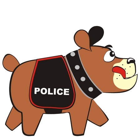 assistant police dog with blanket, funny vector illustration