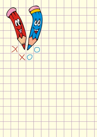 Noughts and crosses, crayons and notepad, vector icon, colored illustration Vektorové ilustrace