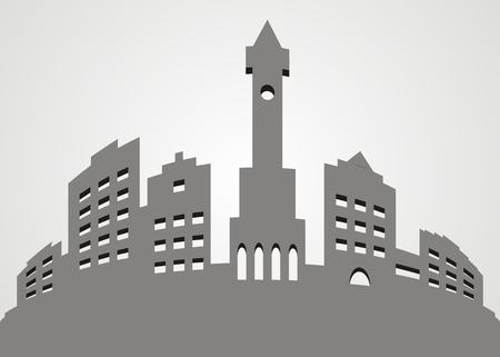 Urban development, vector icon, city. Gray illustration. Silhouette of houses. Illustration
