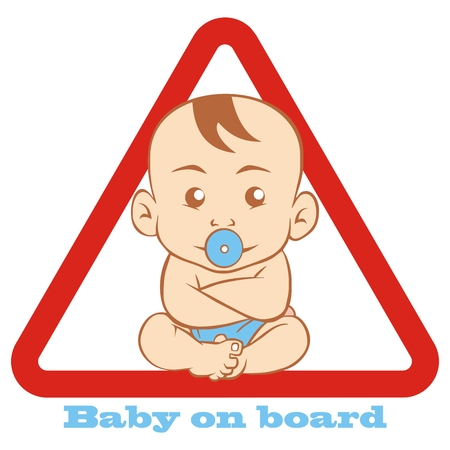 Baby boy at red triangle frame, baby on board, car sticker, vector icon Traffic sign.
