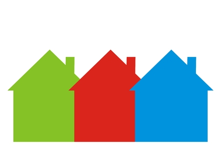 Three differently colored houses, vector icon. Green, red and blue houses with smokestack. Icon for offer houses. Row houses.