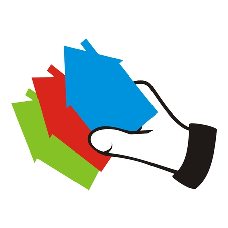 Hand and three cards. Three differently colored houses, vector icon.