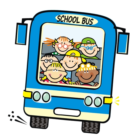 Blue bus and kids, school bus with boys and girls. Vector humorous illustration. Children on the trip. Isolated coach bus.