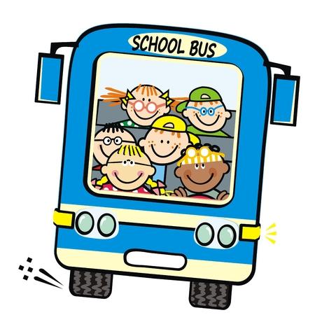 Niebieski autobus i dzieci, autobus szkolny z chłopcami i dziewczynkami. Humorystyczny ilustracji wektorowych. Dzieci w podróży. Autobus na białym tle.
