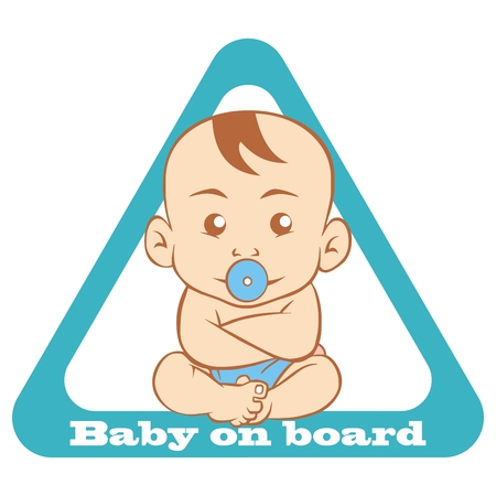 Baby on board, traffic sign, triangle shape, vector icon