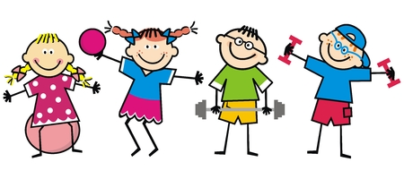 Happy kids, fitness, funny vector illustration. The boys strengthen themselves with dumbbells. Girls train with ball. Funny illustration. Children and colorful clothes. Ilustrace