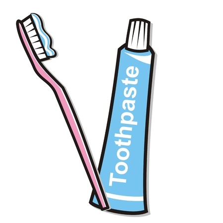 Tandhygiëne, tandpasta en tandenborstel, vectorillustratie
