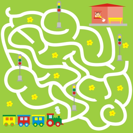 Maze, board game for children. The train is looking for the right way to the station. Vector icon.