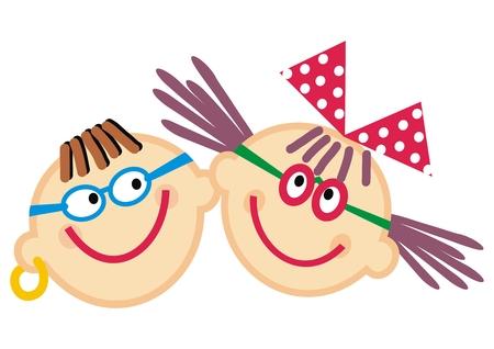 Portrait de garçon et fille, enfants heureux, illustration drôle de vecteur. Image en couleur. Fille avec arc et garçon avec goutte d'oreille. Vecteurs