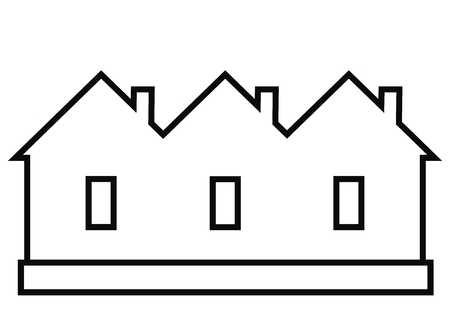 Terraced house, vector icon, black contour. Three houses with window. Houses with retaining wall and smokestacks.