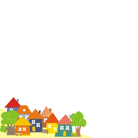 Group of houses, village, vector illustration. Houses with trees, fence and benches. Stock Illustratie