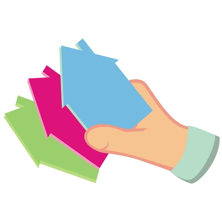 Hand and three houses. Three differently colored houses, vector icon.