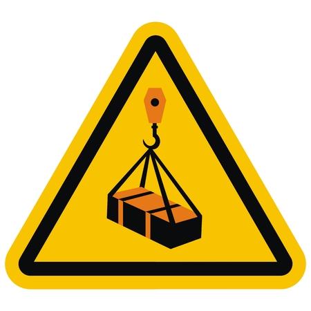 ISO 7010 W015 Warning, Overhead load, vector icon illustration.