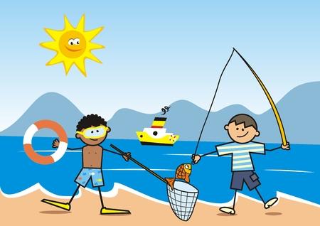 Happy kids, fisherman on the beach, vector funny illustration, postcard