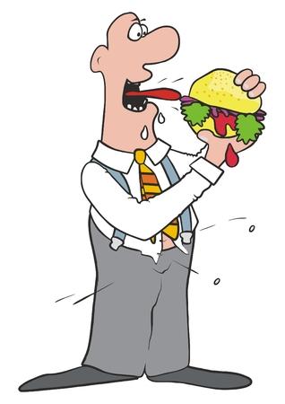 Fat man and hamburger, vector icon.