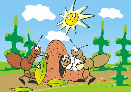 Ants and anthill, family, postcard for children. Nature, ants and meadow with trees. On the background is sun and sky with clouds. Vector illustration. Picture for kids.