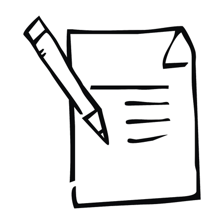 Notepad and pen vector illustration on white background.