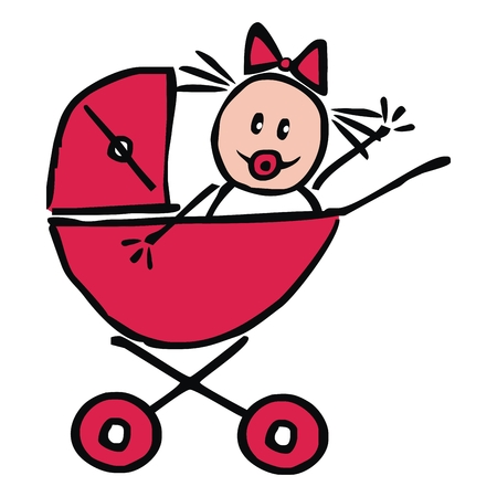 Baby girl in the red pram, funny illustration, doodle, vector icon. Girl with pacifier and bow. Hand drawing. Vektorové ilustrace